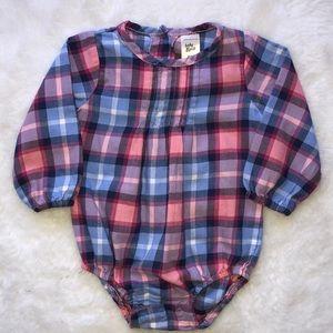 Oshkosh pink and blue plaid bodysuit 6 months
